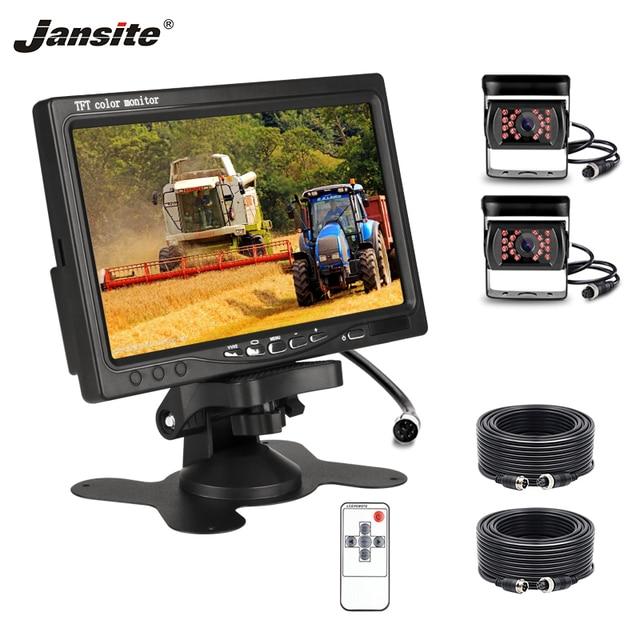 """7 Jansite """"HD Monitor Do Carro Estacionamento assistência Reversa Imagem 18IR 12-24 V 4-pin câmera À Prova D' Água lâmpada de Áudio e Vídeo Caminhão Colorido"""