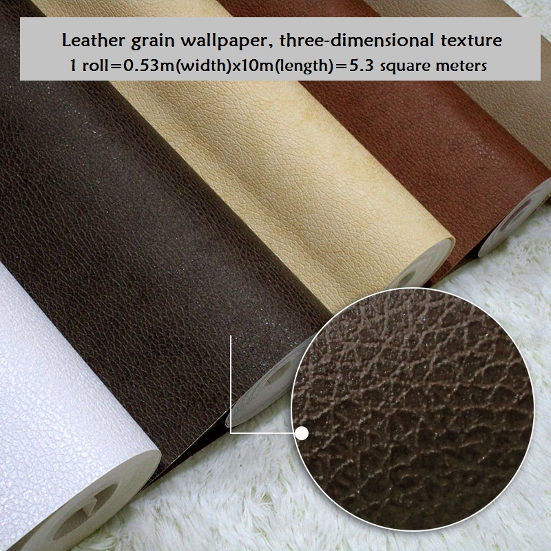 Coffee Pure Black Leather Textured Wallpaper Clothing Shop Project Fashion Personality White Leather Wall Paper Roll