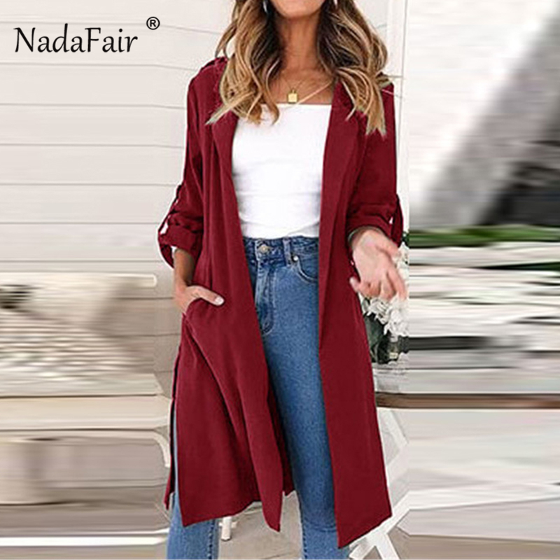 Nadafair Long Belt Cardigan   Trench   Coat Women Long Sleeve Pocket Outerwear Classic Lace Up Split Autumn Winter   Trench   Coat Femme
