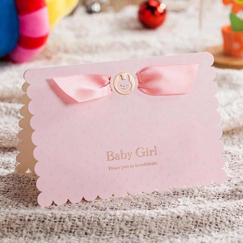 Baby Birthday Invitation Cards With Cute Baby Car And Pink Ribbon ...
