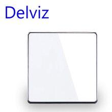 Delviz kristal cam anahtarı 1 Gang 1way /2way gömme anahtarı, 16A ab/İngiltere standart ışık anahtarı, büyük panel lüks duvar anahtarı
