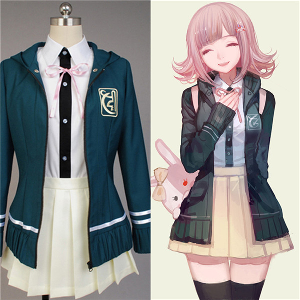 Super DanganRonpa 2 Chiaki Nanami Cosplay Costumes Jacket Shirt Skirt Custom Made For Women party dress full set