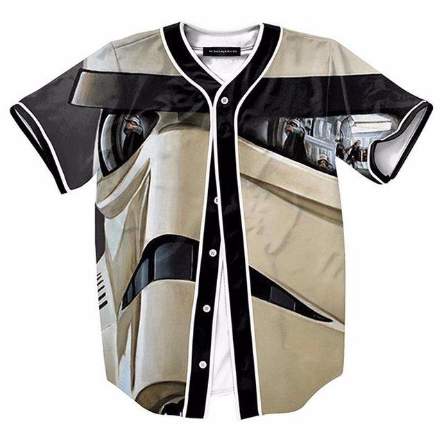 3D Storm Trooper Mlb Baseball Jersey Shirts Mens Casual Cool Stylish Open T- Shirt Fashion Short Sleeve Summer Tee Top fd7f5e034