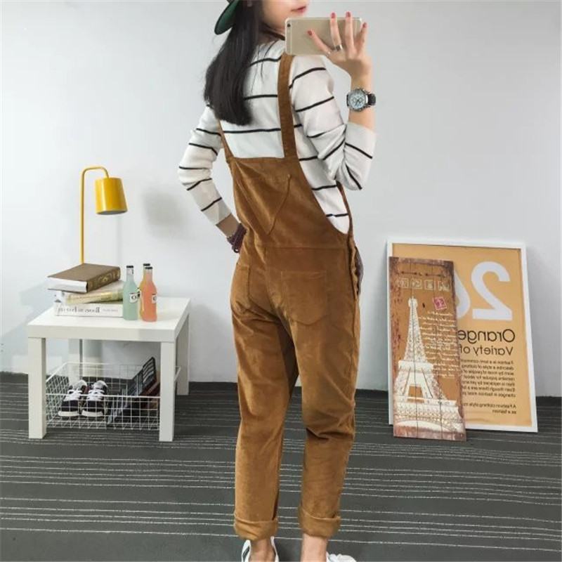Spring Jumpsuits Women 2018 Slim-type Corduroy Overalls Mori Girl Pocket Solid Color Pants Cute Casual Jumpsuits
