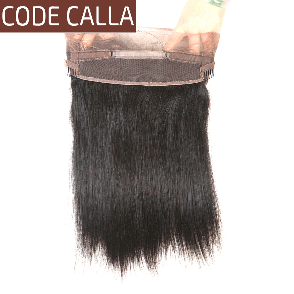 Code Calla Unprocessed Brazilian Raw Virgin Hair Straight 360 Lace Frontal Closure With Baby Hair 100