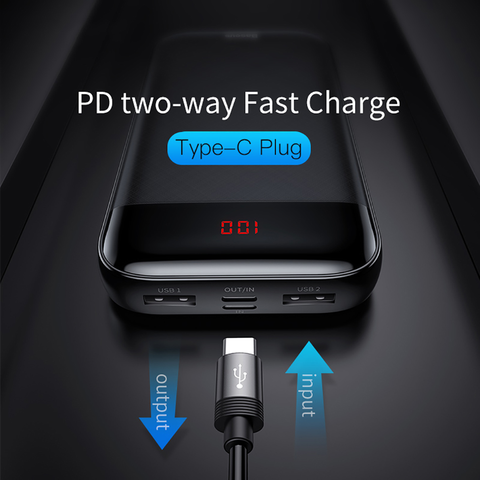 Baseus 20000mAh Power Bank 000 mAh LCD USB C PD Fast Charging Powerbank Portable External Battery Charger For Xiaomi Poverbank 3