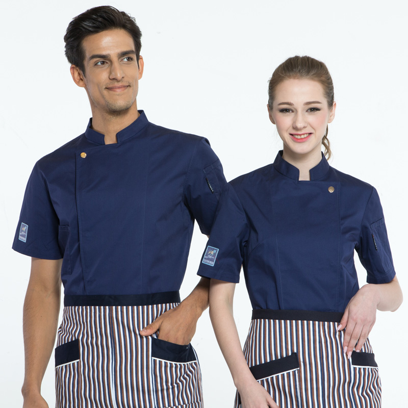 High quality summer short sleeve professional chef unified restaurant kitchen kitchen black jacket chef