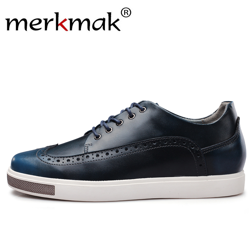 Merkmak Casual Leather Men Shoes Design Increased Within 6 cm Lace Up Comfortable Dress Shoes Male Formal Soft Footwear Flat Man