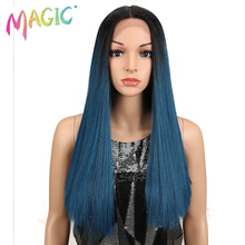 Magic Hair 20Inch Synthetic Straight Lace Front Wig Natural Hairline Heat Resistant Fiber Middle Part For Black Women