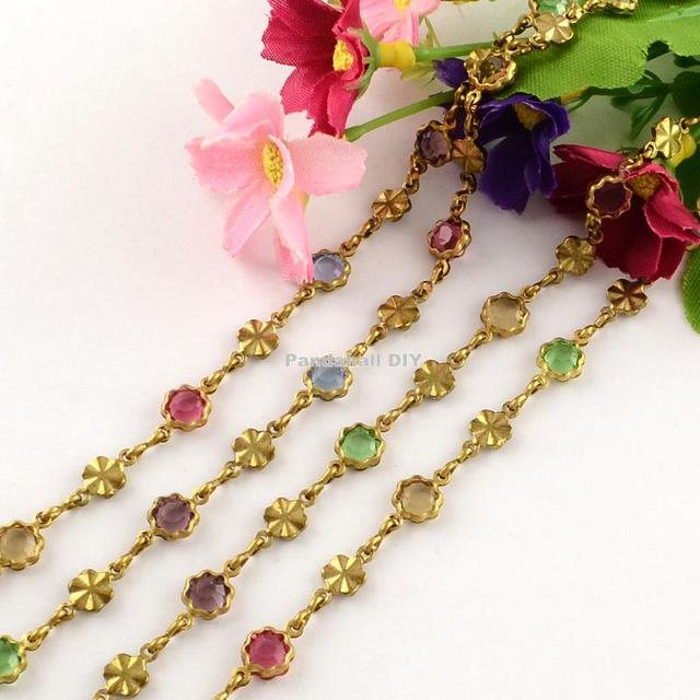 Handmade Unplated Brass Beaded Chains with Transparent Flower Glass Beads, Colorful, 6.5mm; about 10m/roll