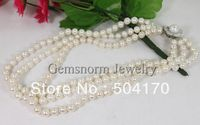 Free Shipping!Romantic 3 Strands Genuine Pearl Necklace Upperscale Pearl Jewelry Bridal Necklace Wedding Jewelry Best Gift FP003