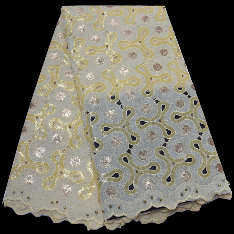 Free shipping 5yards pc cream gold African handcut organza lace Swiss lace fabric with sequins and