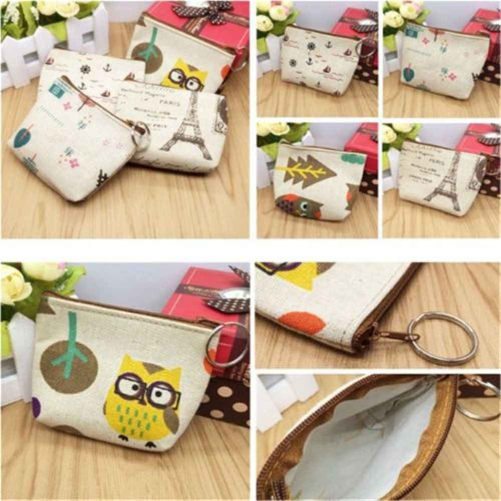 1pcs Hot Sale NEW Fashion Women's Coin Key Holder Pencil Case Small Retro Canvas Purse Mini Bag Zip Wallet Pencil Bag