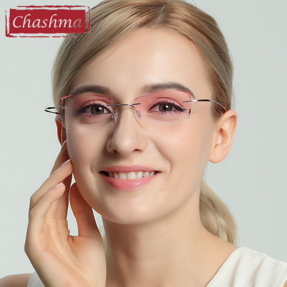 Chashma B Titanium Fasjonable Lady Eyeglasses Diamond Trimmed Rimless Spectacle Frames Women Eyeglass Frame Tint Linser