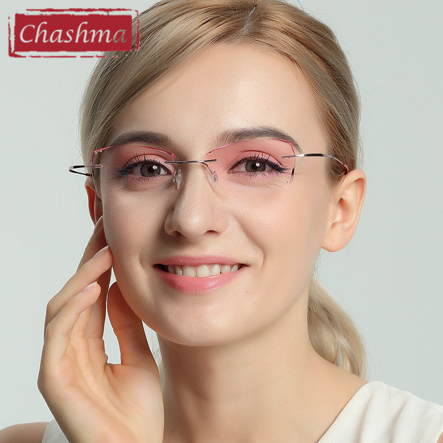 chashma b titanium fashionable lady eye glasses diamond trimmed rimless spectacle frames women. Black Bedroom Furniture Sets. Home Design Ideas