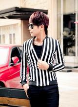 Fashion England Black white stripes stand collar jacket men coat for men 2016 man jacket 1