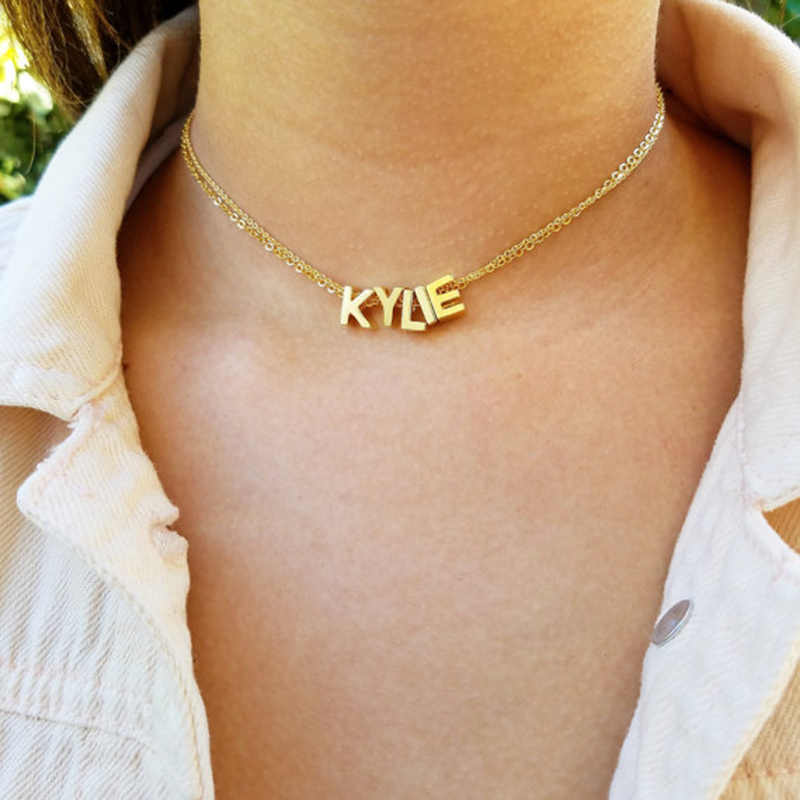 Fashion Personalized Letter Alphabet Pendant Necklace Initial Necklaces Charms For Women Mini Jewelry  LXL362