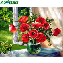 AZQSD Diamond Embroidery Flowers Mosaic Full Display Rhinestones Pictures Gift Painting Square Craft Kit