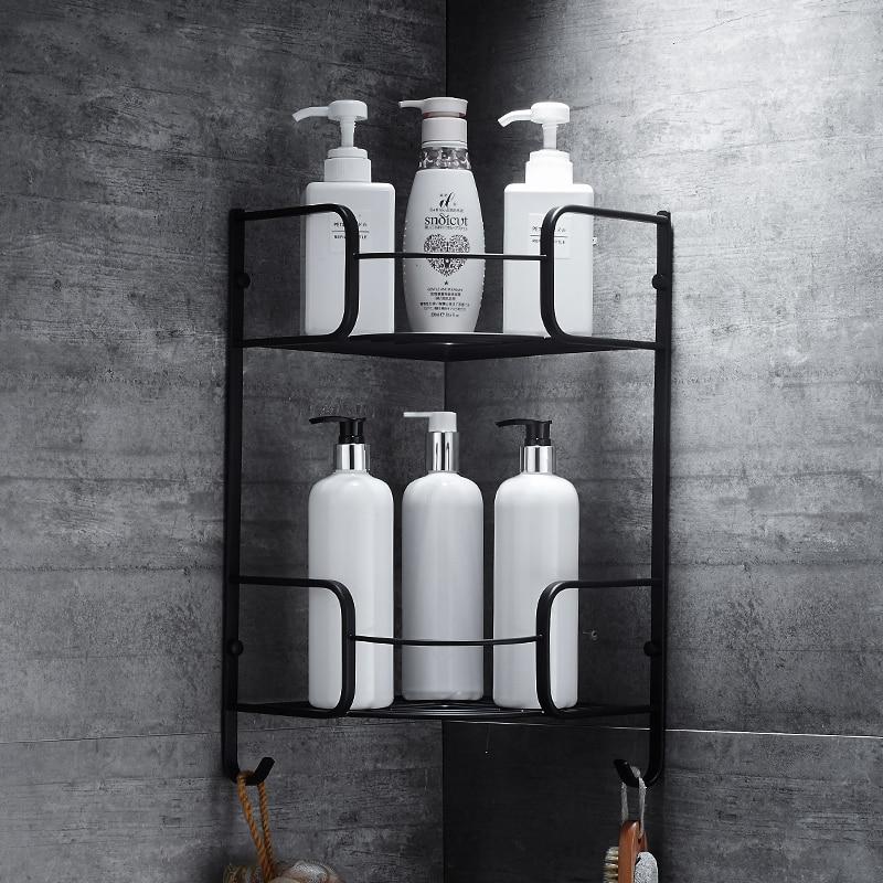 Black brass Dual tier bathroom shelf basket bathroom corner shelf ...