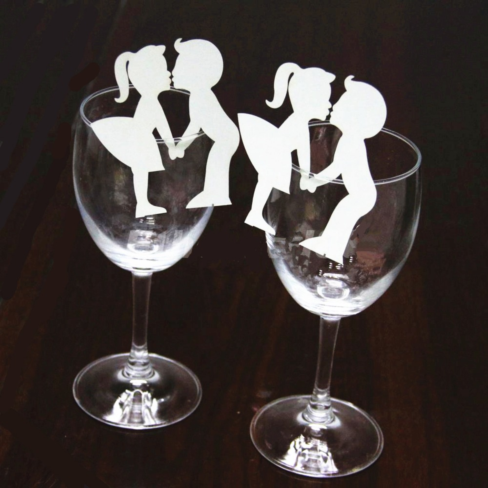 50x paper laser cut bride and groom table name place for Wine glass table decorations