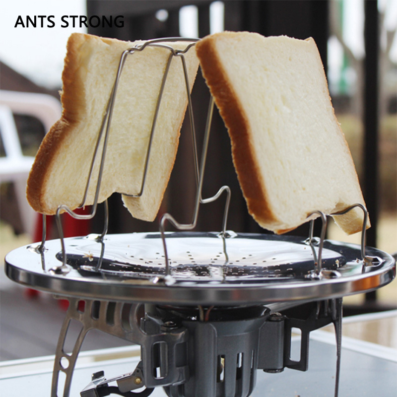 ANTS STRONG outdoor toast bread barbecue pan/Connection gas bottle foldable stainless steel BBQ grill amping tools