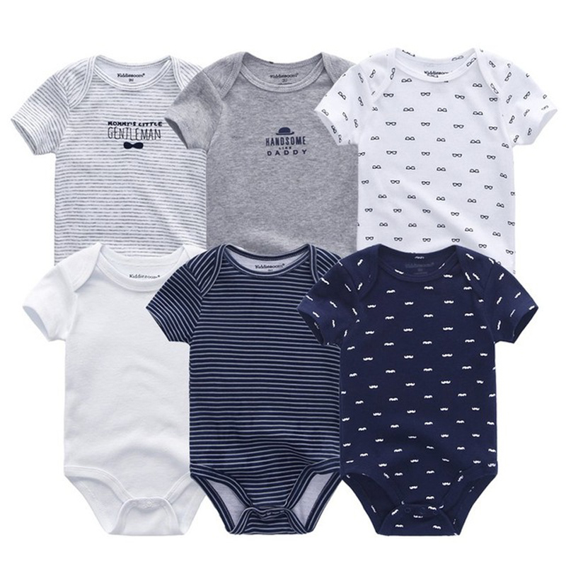 6 PCS/lot Newborn Baby Bodysuits Short Sleevele Baby Clothes O-neck 0-12M Baby Jumpsuit 100%Cotton Baby Clothing Infant Sets(China)