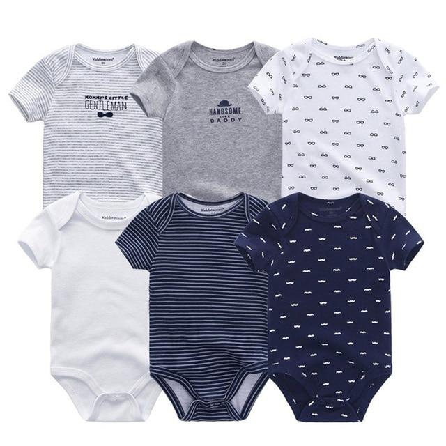 6 cái/lốc sơ sinh bodysuits ngắn sleevele Bộ quần áo Cổ Tròn bé 0-12 M Jumpsuit cho bé 100% Cotton quần áo trẻ sơ sinh Bộ