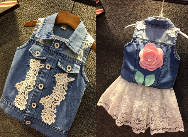 EMS-DHL-Free-Shipping-Toddler-Girls-Cotton-Denim-Vest-Lace-Skirt-Summer-2pc-outfit-Children-Clothing