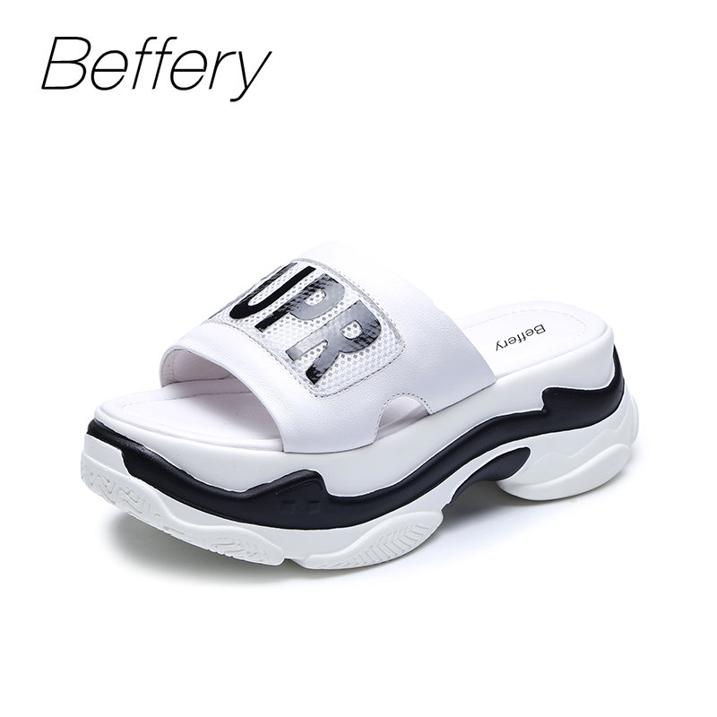Beffery Summer slippers Women Genuine Leather Flat platform Shoes for Women Thick bottom Casual shoes chaussures femme ete 2018 beffery 2018 british style patent leather flat shoes fashion thick bottom platform shoes for women lace up casual shoes a18a309