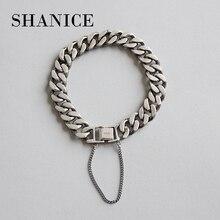 Shanice 100% 925 Sterling Zilver Punk Rock Mannen & Vrouwen Armbanden & Bangles Hiphop Nooit Vervagen Ketting Armband Zilveren Sieraden minnaar