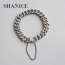Shanice 100% 925 スターリングシルバーパンクロック男性 & 女性ブレスレット & バングルヒップホップないフェードチェーンブレスレットシルバージュエリー恋人