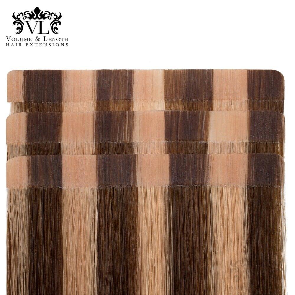 VL лента в Remy 100% Пряди человеческих волос для наращивания прямые волосы 50 г/упак. 18 лента для волос Утка Ombre карамель выделяет VL20T18