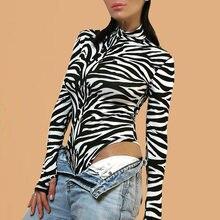 Животного с принтом зебры Боди Одежда длинным рукавом черный