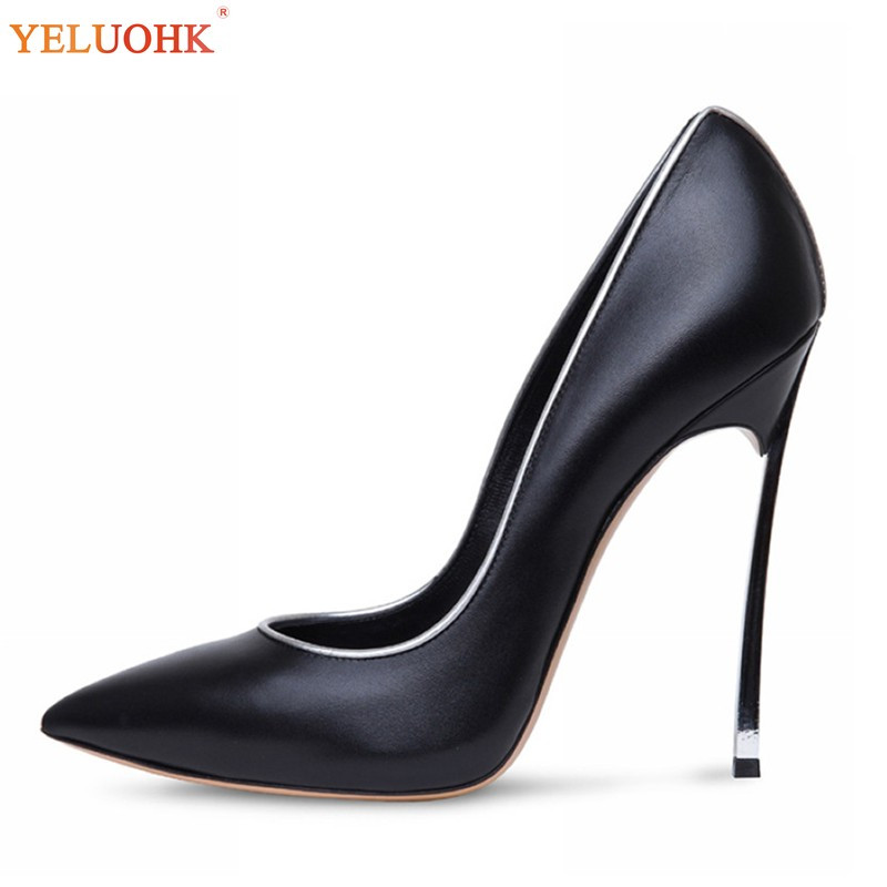 34-45 Sexy Extreme High Heels Big Size Shoes Women Heels Genuine Leather Female Shoes Pumps High Quality 11 CM цена