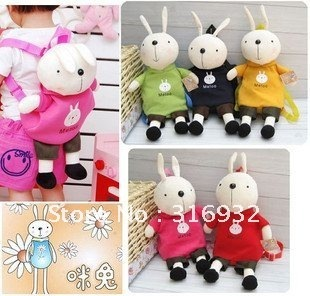 I4 Super cute hot sale plush baby schoolbag backpack rabbit shaped birthday gift