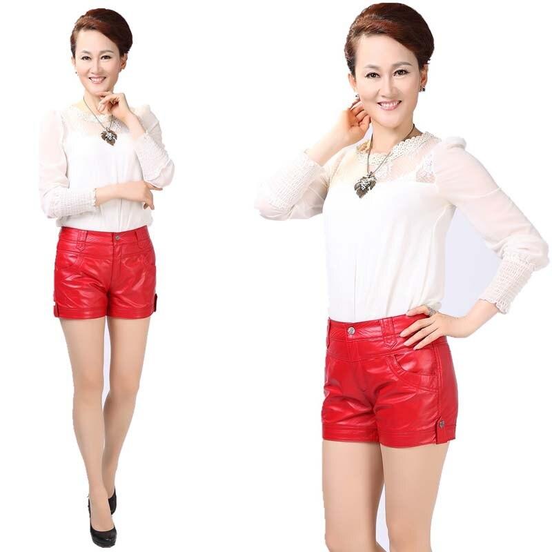 Shorts Peau Mode Noir Short Femmes Doux Rouge Cuir Haute En Mouton Nouveau Court De Sexy Mini Taille Ajc3q54RL