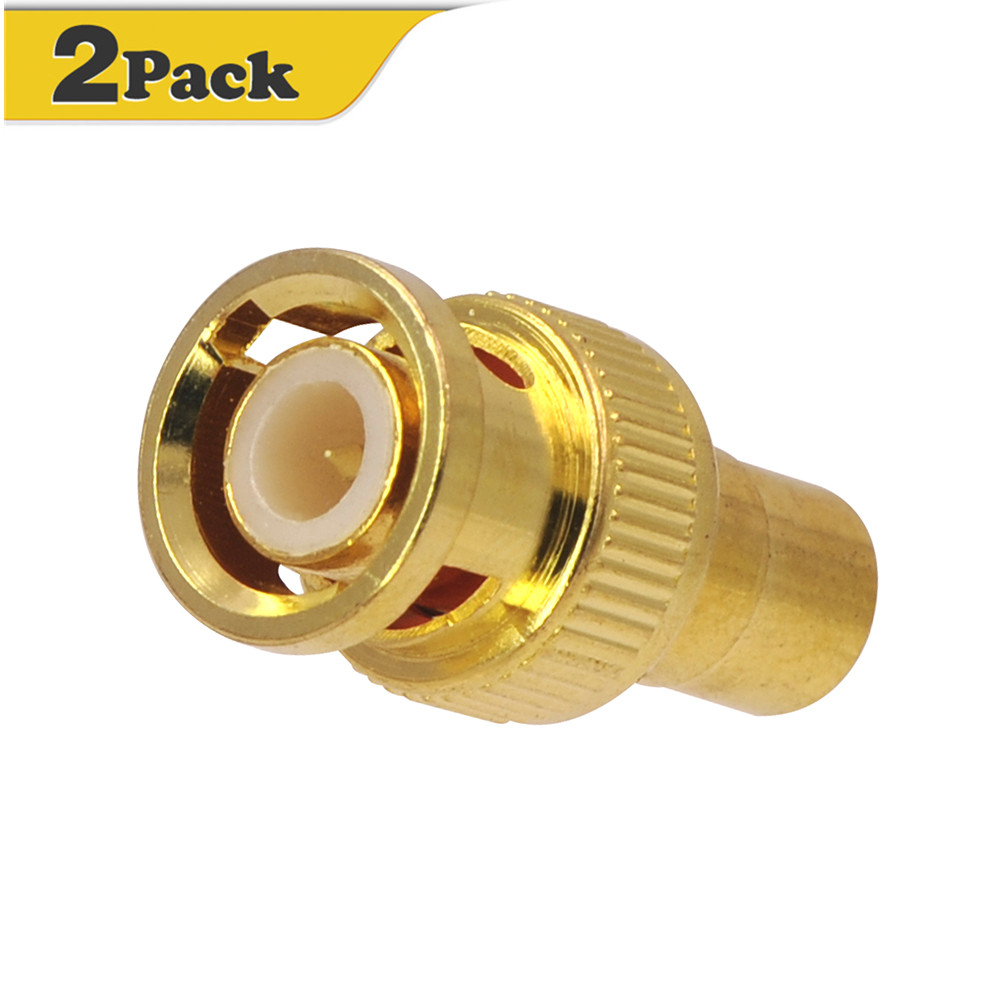 BNC Male to RCA Phono Female Adapter Gold Plated connector coupler for CCTV DVR video camera 2pcs-VCE
