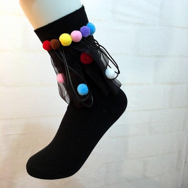Handmade Street Fashion Socks Women Girls Cotton High Socks Colorful Pom Pom Ribbon Socks Sokken 2018 Spring New Japanese Style