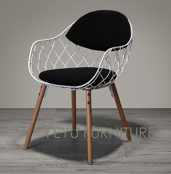Minimalist Modern Design Metal Steel Wire Chair With Solid Wooden Leg Base  Modern Design Home Furniture Fashion Dining Chair