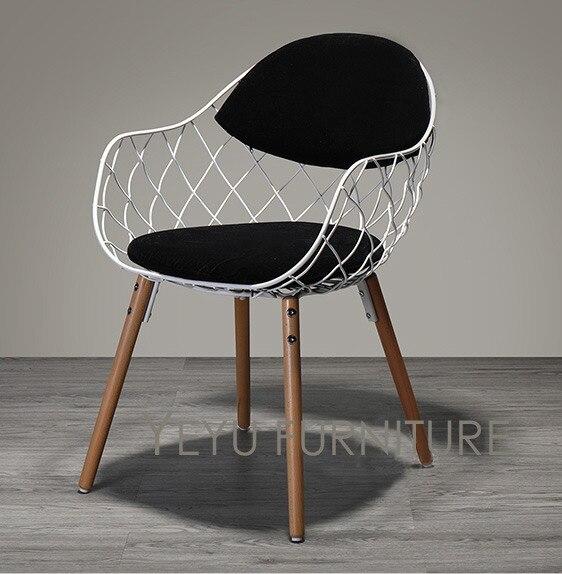 Minimaliste Moderne Design En Mtal Fil Dacier Chaise Avec Solide Bois Jambe Base Meubles De Maison Mode Manger Dans Chaises