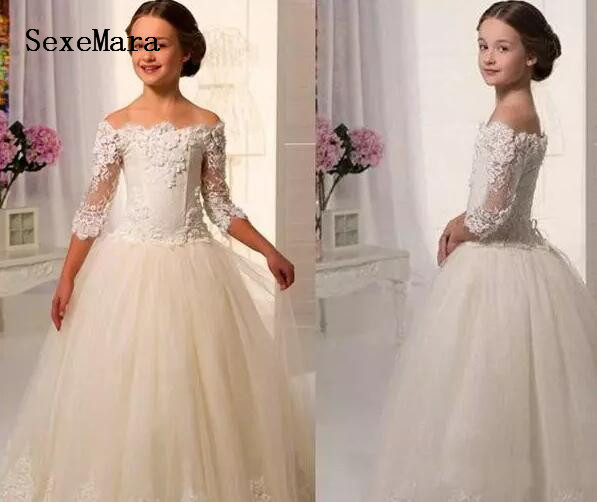 Hot Sale Scoop Lace Applique A Line Full Length Tulle Long Sleeves Flower Girl Dresses For Weddings First Communion Dress Gowns scoop neck long sleeves printed stylish dress for women