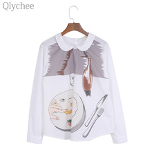 Qlychee Preppy Style Women White Blouse Peter Pan Collar Western Cuisine Print Long Sleeve Female Shirt Kawaii Slim lady Top