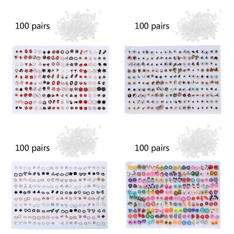 100 Pairs Assorted Styles Polymer Clay Hypoallergenic Stud Earrings Lot for Kids
