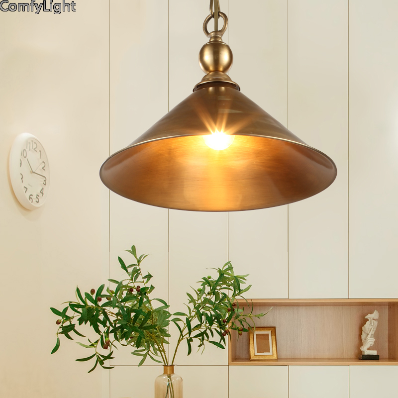 Copper pendant Lamp Industrial Lighting Holder Retro Hang lamp Pendant Light Edison Bulb dining room/Coffee American Lampshade hot sale edison bulb vintage industrial lighting copper lamp holder pendant light american aisle lights lamp 220v light fixtures