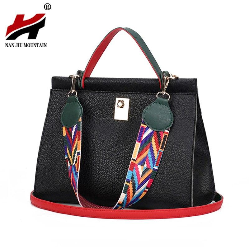 Colorful Ribbon Women Handbag Lock Shoulder Bag PU Leather Crossbody Messenger Bag Designer Bags Famous Brand Women Bags 2017