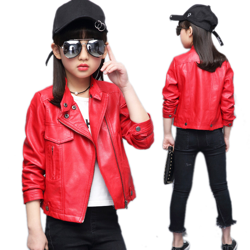 girls coats and jackets 2017 new spring jackets girls kids solid faux pu leather kids jackets turn down collar Motorcycle coat pu leather and corduroy spliced zip up down jacket