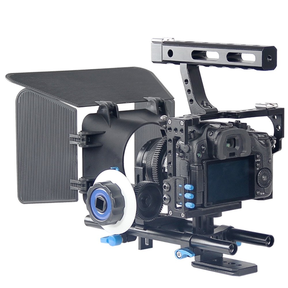 Professional Handle DSLR Rig Camera Video Cage Kit Stabilizer+Follow Focus+Matte Box For Sony A7S A7 A7R A7RII A7SII  GH4 2016 new koolertron hand grip handle shoulder mount rig follow focus adjust platform matte box sunshade for dslr cannon nikon