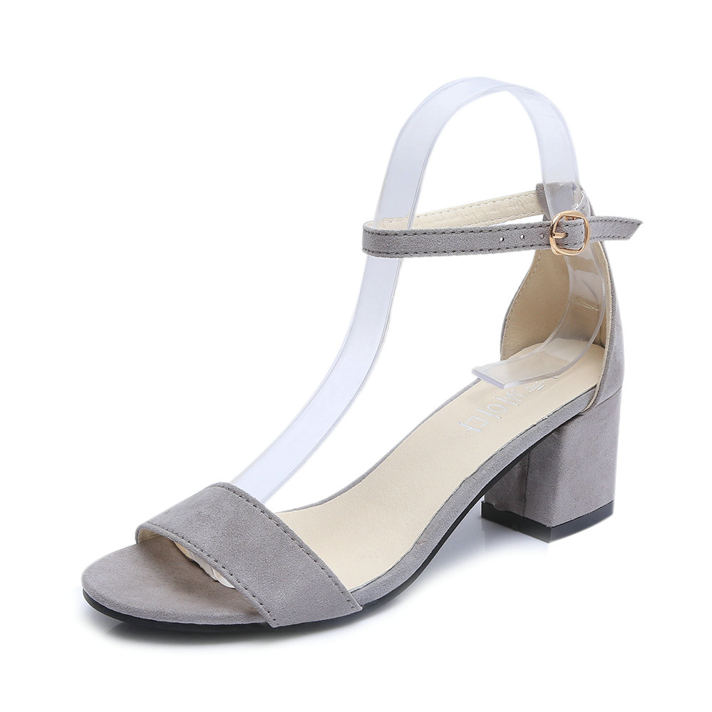 Woman Sandals Square Heel Fashion Buckle Woman Summer Shoes Open Peep Toe Sandals Mid Heel Suede Shoes Women size 34-40 xiaying smile new summer woman sandals shoes women pumps platform fashion casual square heel buckle strap open toe women shoes