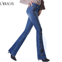 Jeans Women Embroidery New Arrival 2017 Womens Vintage High Waisted Jeans Fashion Flare Pants Slim Thin