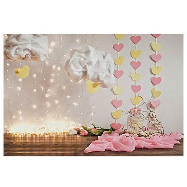 7x5ft photography backdrop paper hearts wooden floor children